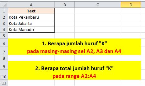 Contoh Soal Excel Menghitung Huruf
