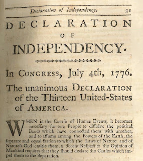 "A printed page of text with the header ""Declaration of Independency."""