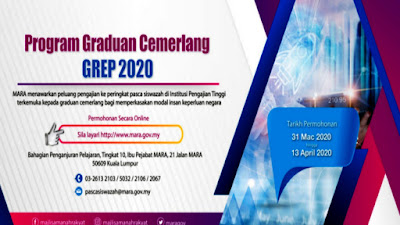 Permohonan Program Graduan Cemerlang 2020 GREP Online