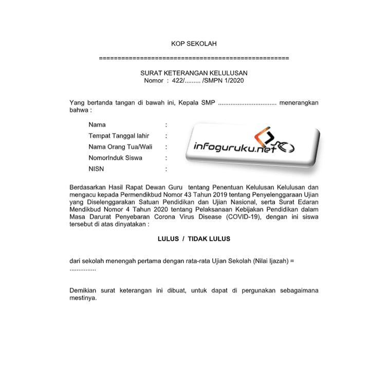 Download Contoh Surat Keterangan Kelulusan Siswa Smp Mts Tahun 2020 Infoguruku