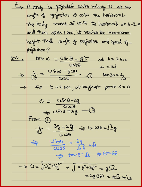 Velocity of Projectile and Problems on Projectile Motion | IIT JEE