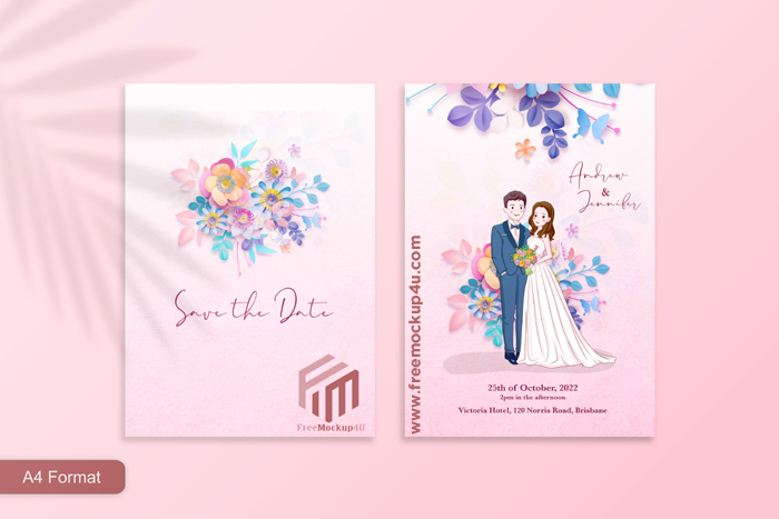 Cute Pink Wedding Invitation With Paper Style Flower