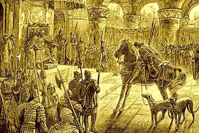 Kilhwch alla corte di Re Artù a Celliwig in Cornovaglia -Illustrazione del 1881