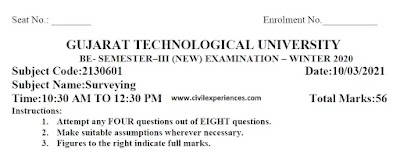 Download GTU Exam Papers of SURVEYING WINTER 2020 | Surveying GTU Exam Papers 2130601 PDF 2021 | 2130601 GTU Paper PDF Download