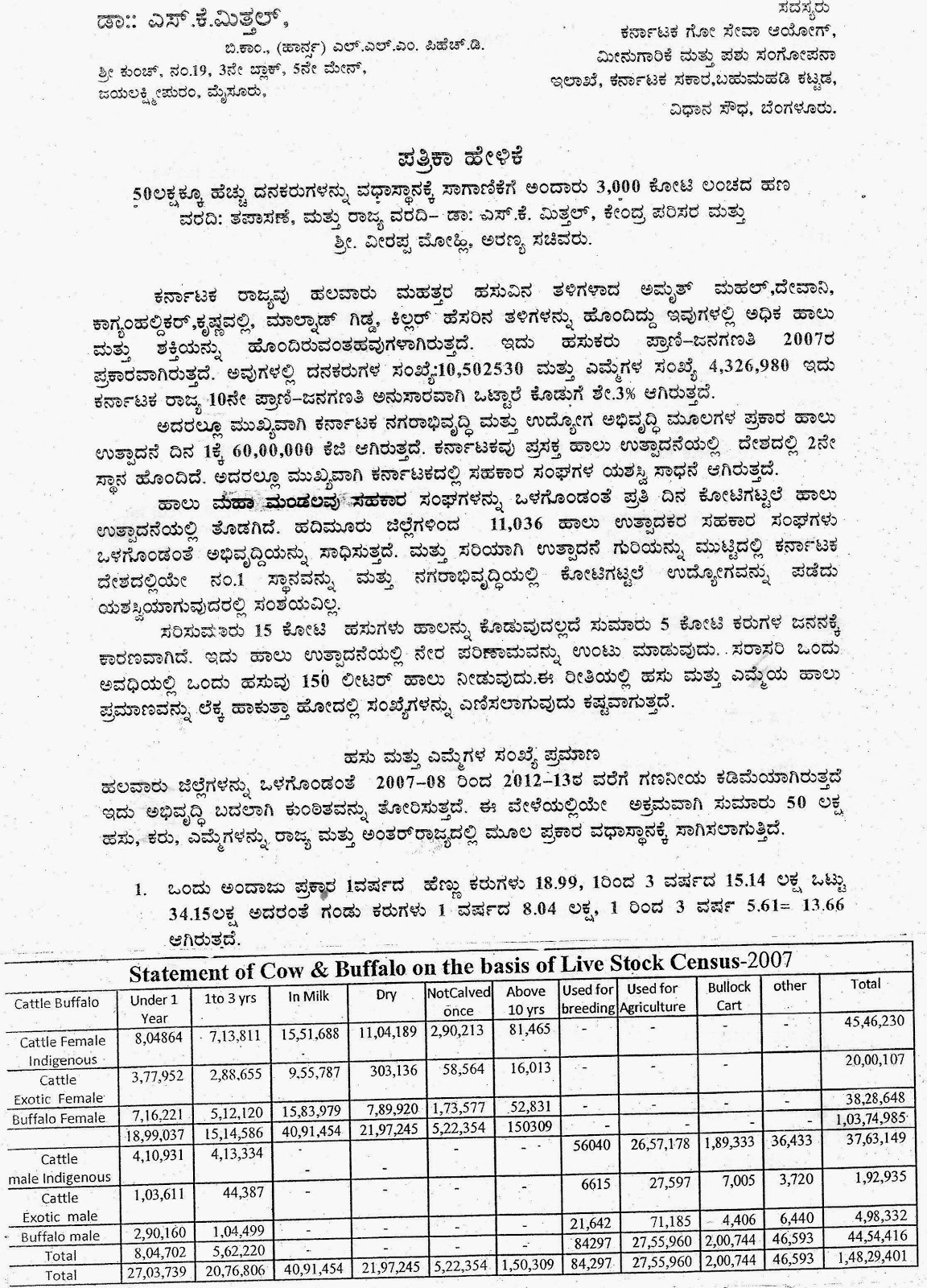 APMC Officials and Contacts | Karnataka State Goseva Ayog