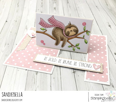 www.stampingbella.com: rubber stamp used SLOTH ON A BRANCH card by Sandie Dunne
