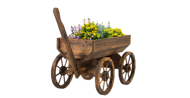Best Choice Products Wood Wagon Planter, Brown
