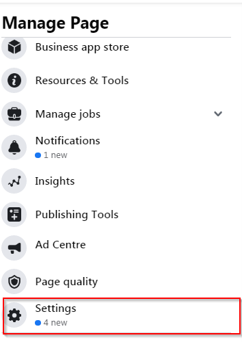 Fb page settings button