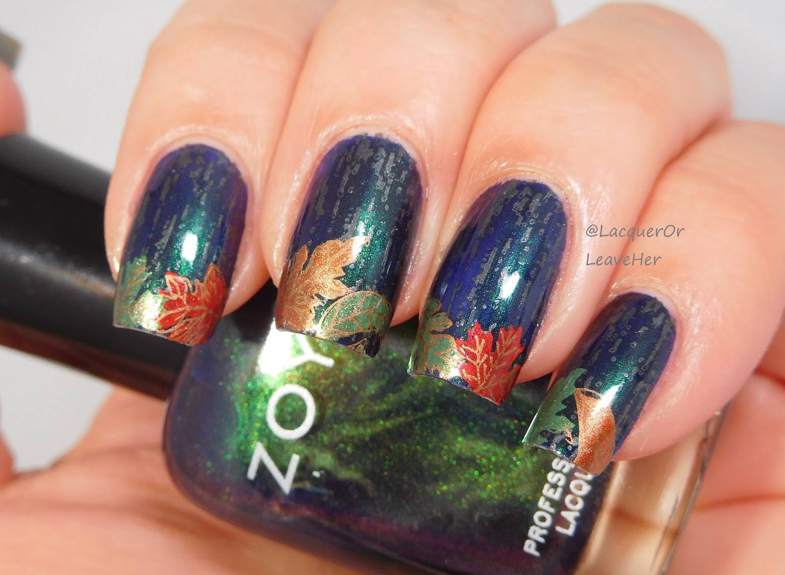Lacquer or Leave Her!: NOTD & Tutorial: Rainy Fall Night