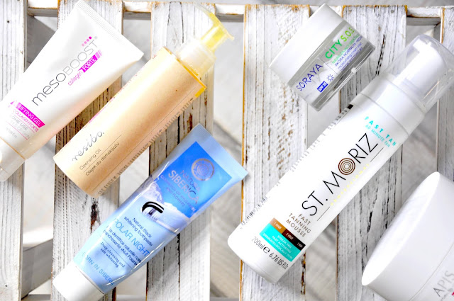 samoopalacz st. moriz fast tanning mouse, pasta do zębów natura siberica polar night, cukrowy peeling do twarzy apis raspberry glow, olejek do demakijażu resibo cleansing oil, żel do mycia twarzy mesoboost collage forte puryfying gel, kremy do rwarzy soraya city s.o.s.