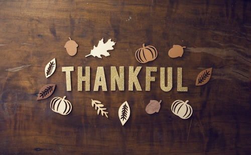 sign that says thankful