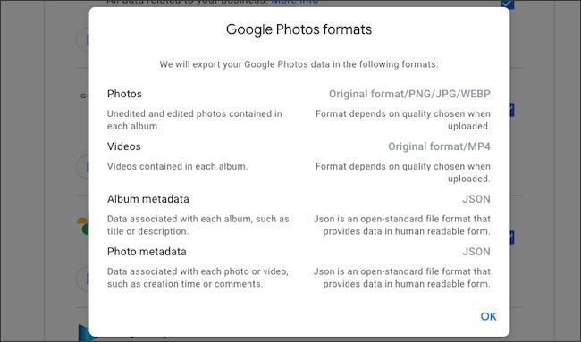 تحقق من تنسيقات الملفات الخاصة بتصدير بيانات صور Google