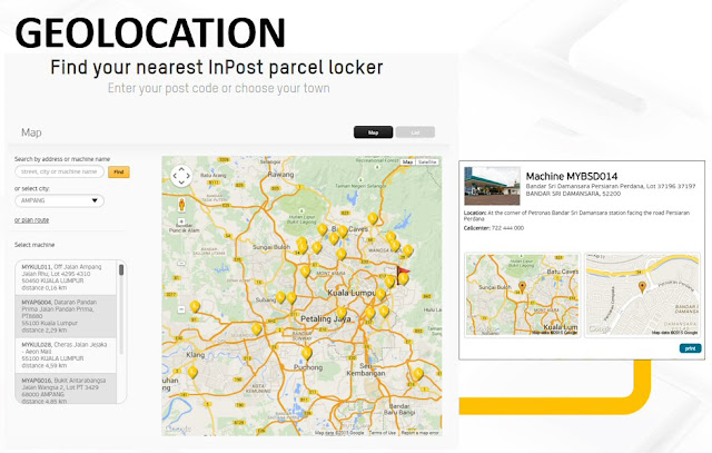 Geo-location available via InPost parcel lockers