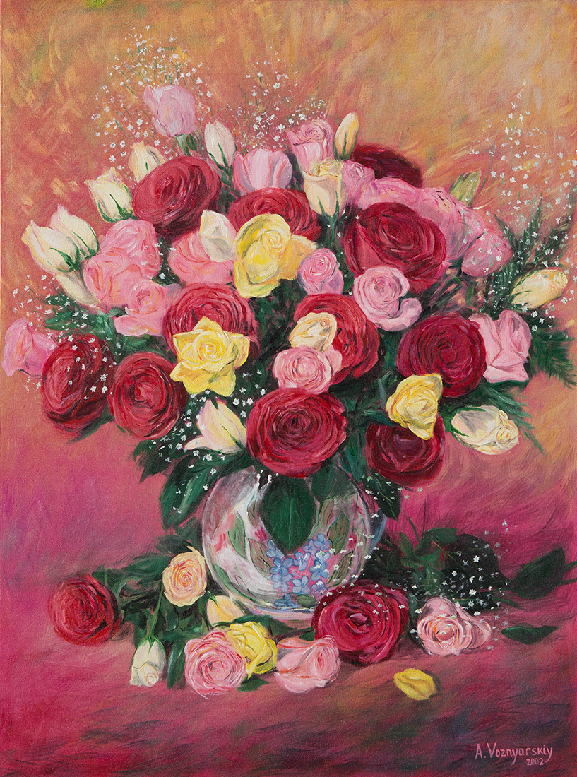 Bouquet of Roses,Bouquet of Roses painting, roses, roses painting, fine art ,fine art roses, voznarski roses, original fine art,  acrylic roses, traditional painting, realistic flowers,flowers painting