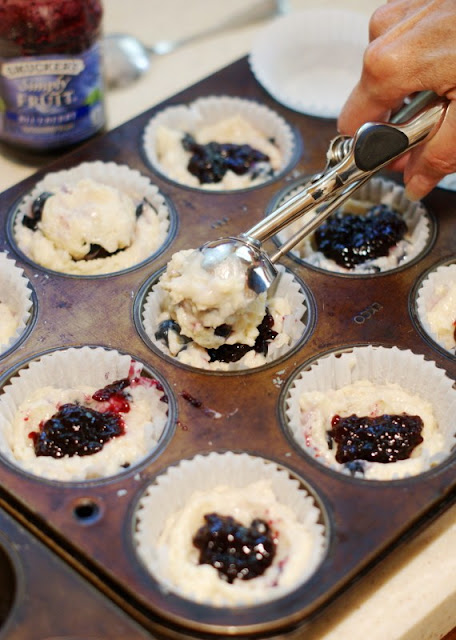 Double Blueberry Muffins with Citrus-Sugar ~ the combination of fresh blueberries, blueberry preserves, and a sprinkling of citrus-sugar make these muffins extra delicious!