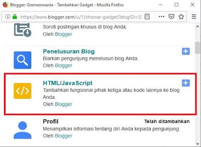 Sobat tinggal buka akun blog Sobat, klik Tata Letak > Tambahkan Widget > HTML/Javascript.