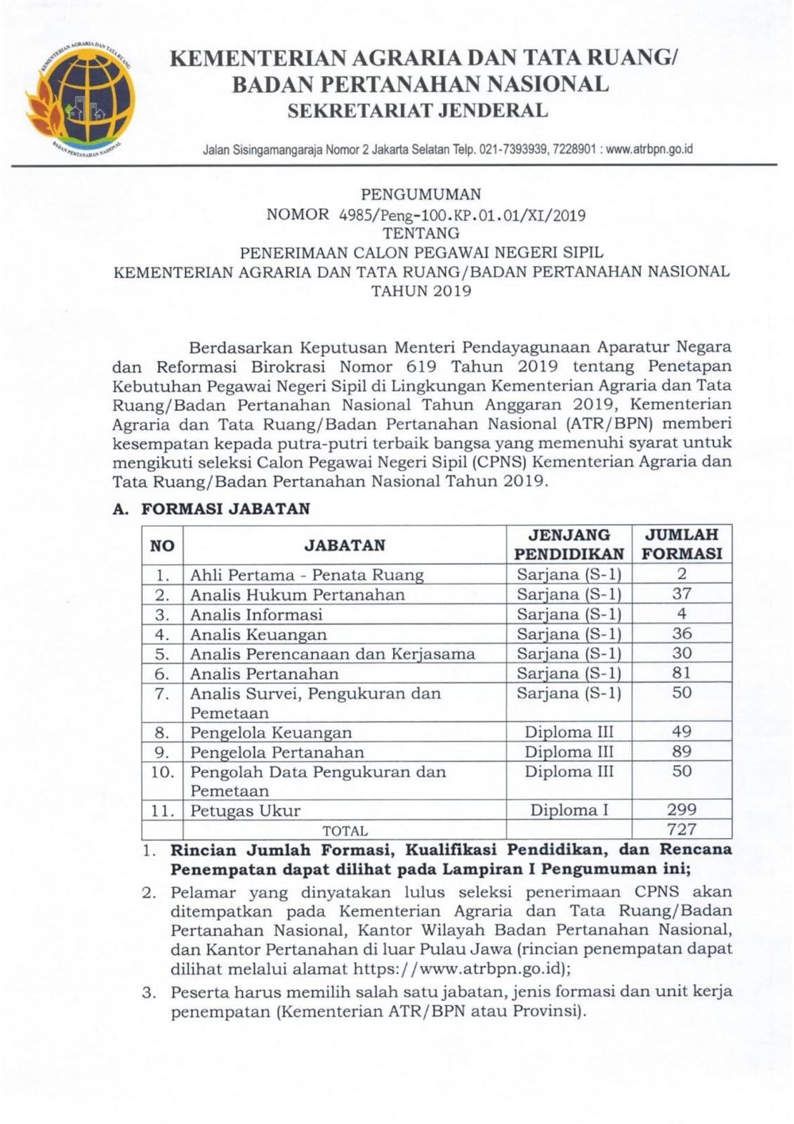 Penerimaan CPNS Kementerian Agraria dan Tata Ruang/ Badan Pertanahan Nasional Tahun 2019 [727 Formasi]