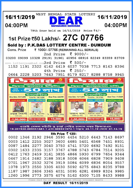 Lottery Sambad 16-11-2019 West Bengal State Lottery Result 04.00 PM-sambadlottery.org