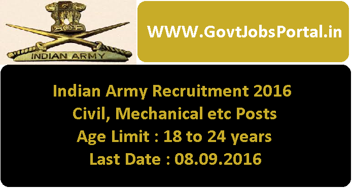 indian army recruitment for engineers posts 2016 apply