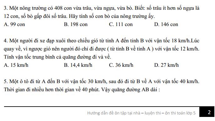 [Đề thi toán lớp 5 - Đáp án] Đề ôn tập toán lớp 5 số 1 trung bình - khá