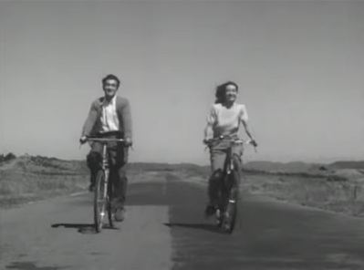 A bicycle scene from Late Spring, a 1946 Japanese drama film directed by Yasujirō Ozu