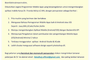 Lowongan Kerja Programmer Mobile Apps Ustadz Firanda Andirja