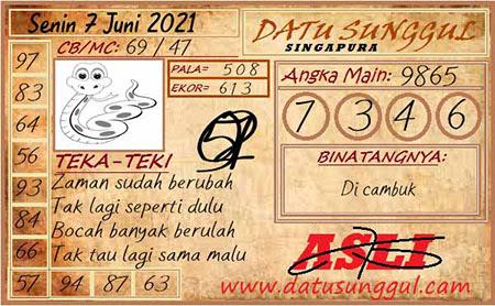 Prediksi Datu Sunggul SGP Senin 07 Juni 2021