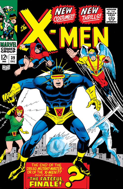 Five original X-Men facing the reader in pin-up pose displaying their powers.