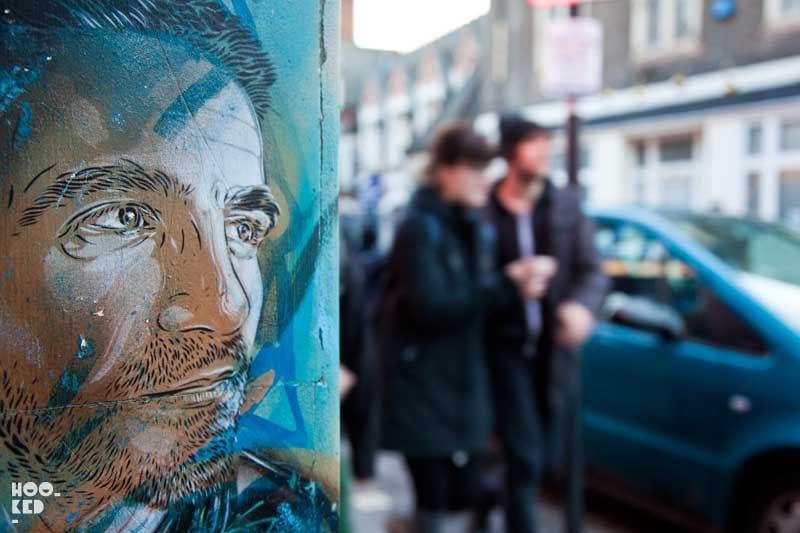 French street artist C215 visits London installing a series Stencil Portraits across the city