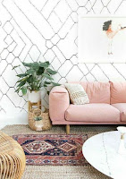 Pink sofa and boho rug for living room interior