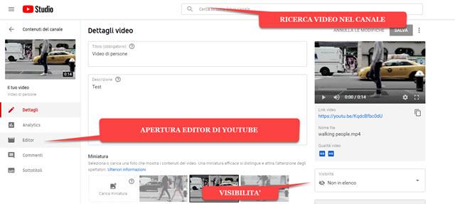 informazioni su video pubblicato in youtube
