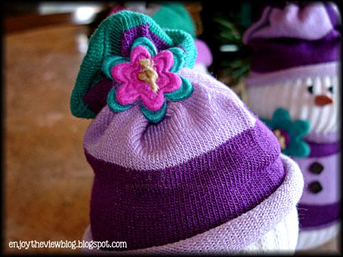 close-up of hat on DIY sock snowman
