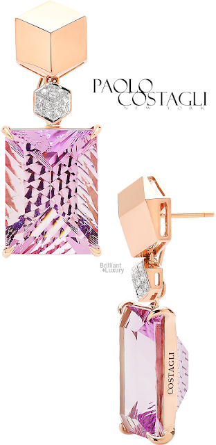 Brilliant Luxury♦Paolo Costagli Rose Gold And Amethyst Brillante® Earrings Set With Diamonds