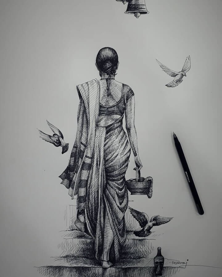 03-Lady-and-birds-Meher-www-designstack-co