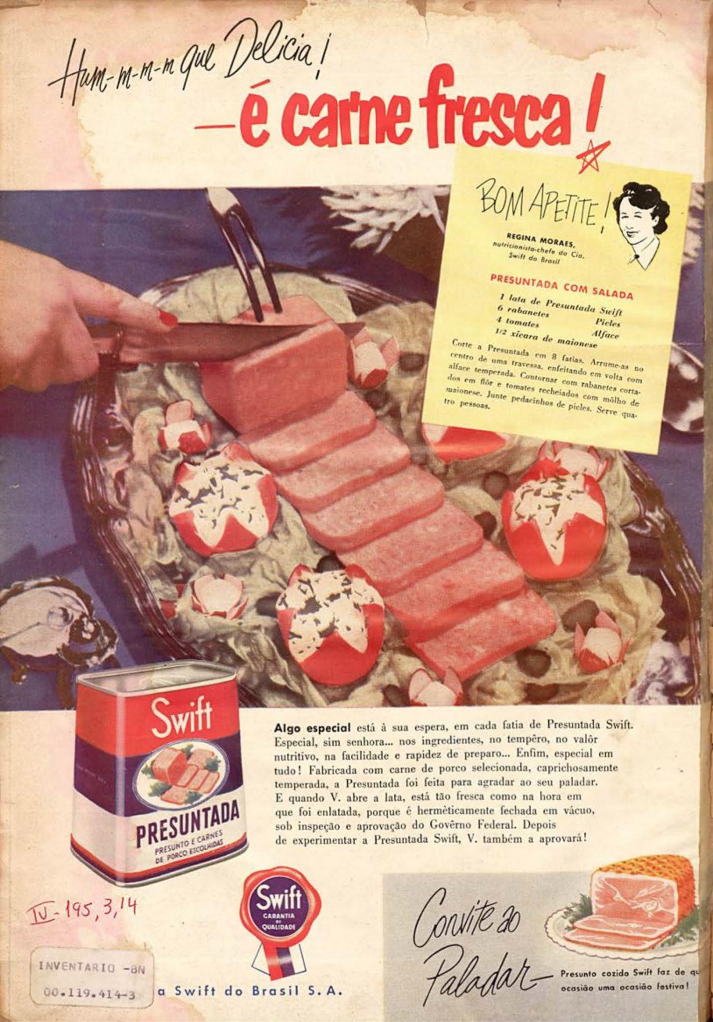 Anúncio da Swift promovendo sua presuntada em 1952