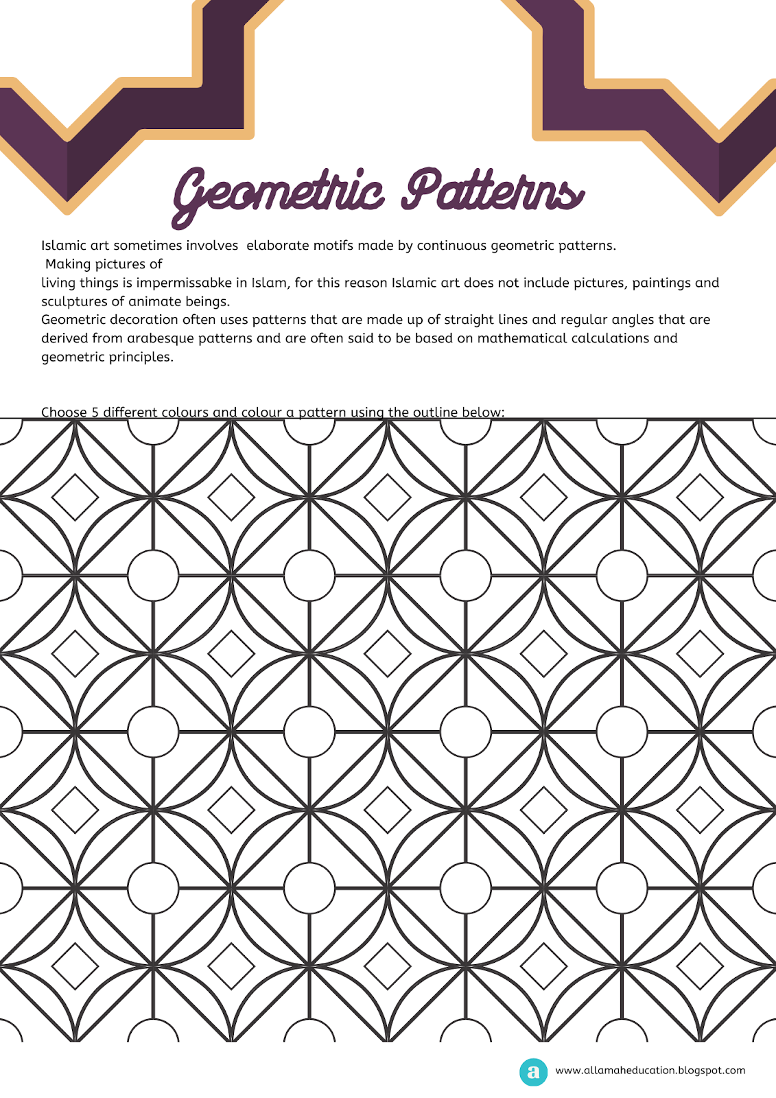 Geometric Patterns Worksheet