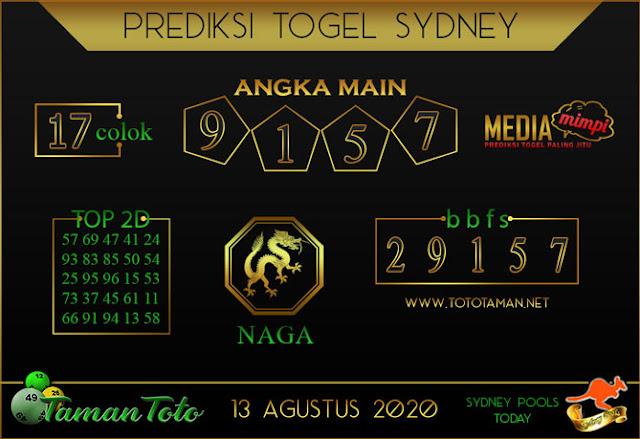 Prediksi Togel SYDNEY TAMAN TOTO 13 AGUSTUS 2020