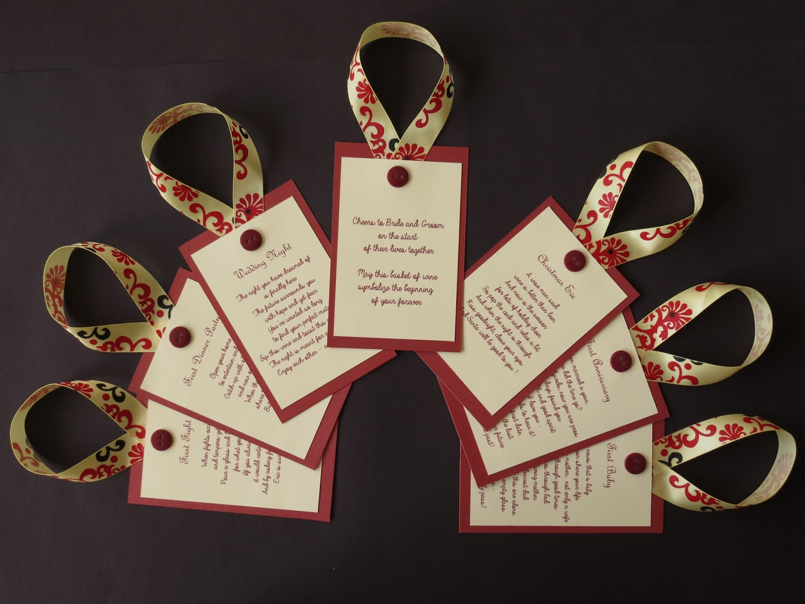 Wine Tags For Wine Poem Basket Bridal Shower Perfect Gift