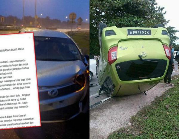 Lagi Kes Stereng Perodua Axia Tiba-Tiba Lock Sehingga Kereta Terbalik