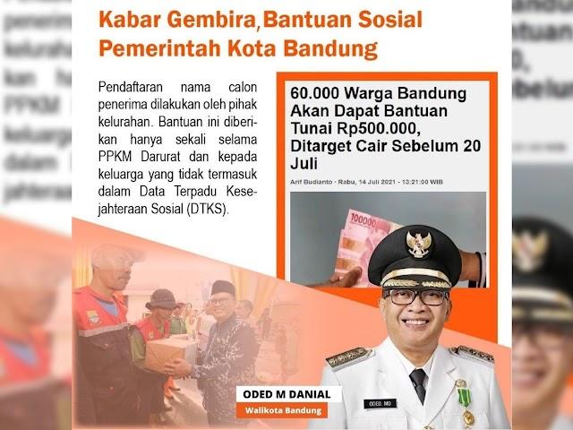 Pemkot Bandung Mulai Salurkan Bansos Bagi Warga Terdampak PPKM Darurat