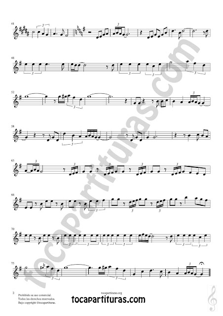 Hoja 2 de 2  Corno Inglés Partitura de Yo le seguiré (I will follow him) en Mi bemol Sheet Music for English Horn Music Scores
