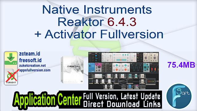 Native Instruments Reaktor 6.4.3 + Activator Fullversion