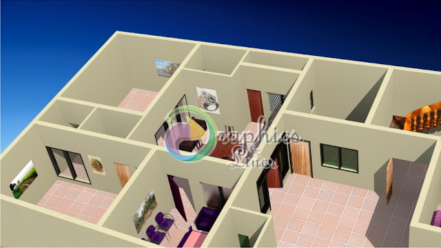 3D Architectural House Plan of 7 Marlas House