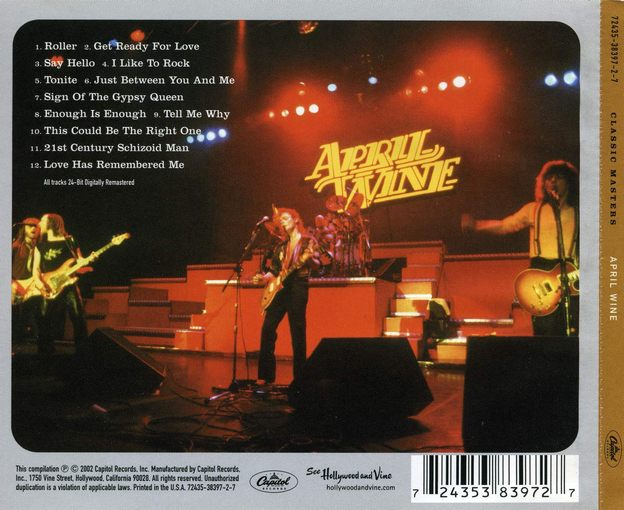 APRIL WINE - Classic Masters [digitally remastered] back