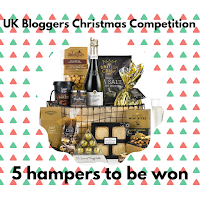 A hamper display of Christmas themed food products