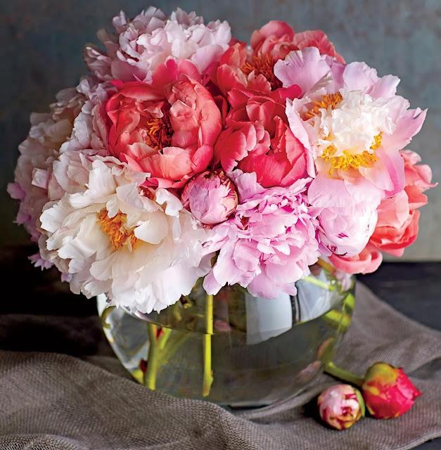 Peonies flower vase