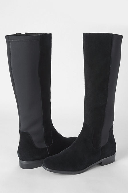 aa15ee0b The Women's Stretch Suede Tall Boots are available in most sizes at Lands'  End. The boots retail for $219 but one can avail of a 40% discount by using  the ...