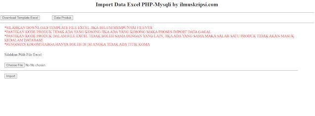 Membuat Import Data Excel PHP - Mysqli dengan Logika Kondisi Tertentu
