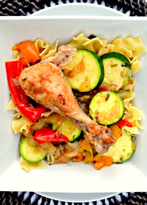 Tarragon Chicken and Zucchini over egg noodles, rice or mashed potatoes. Slow braised chicken in a tarragon white wine sauce with bell pepper, and zucchini is a dinner favorite from Serena Bakes Simply From Scratch.