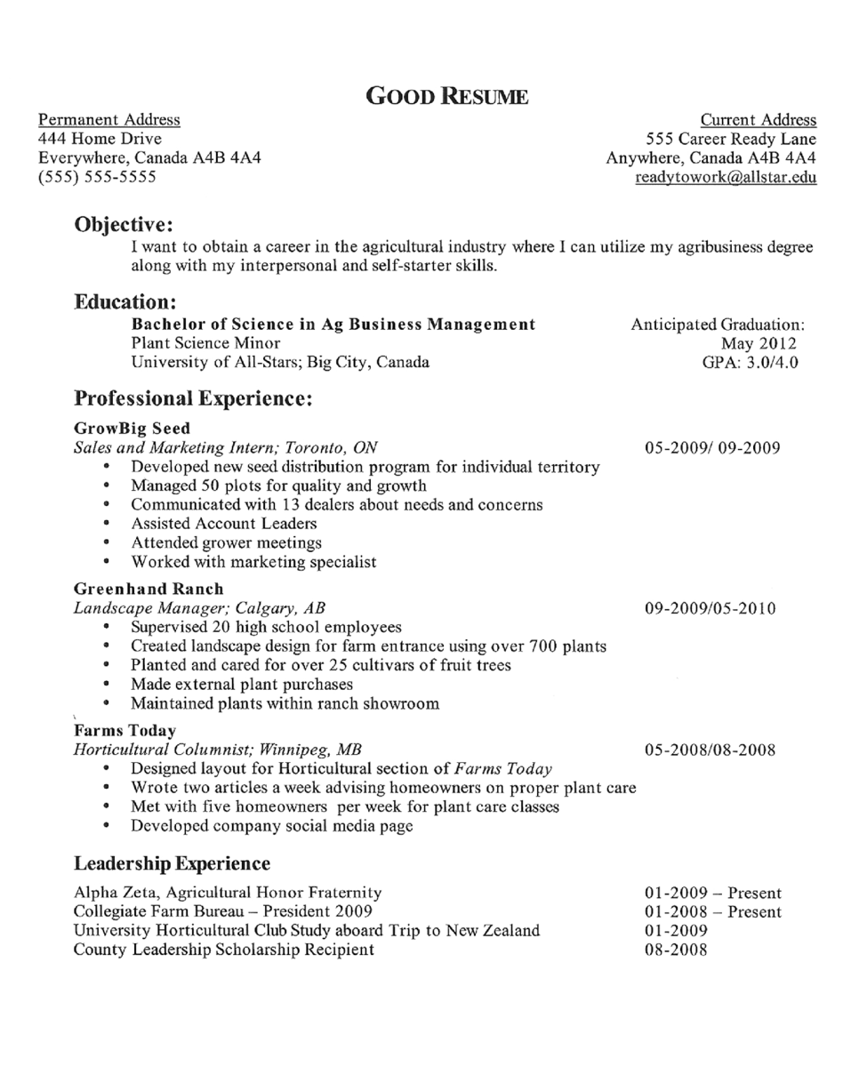 resume objective for college student - Examples Of Resumes For Jobs With No Experience